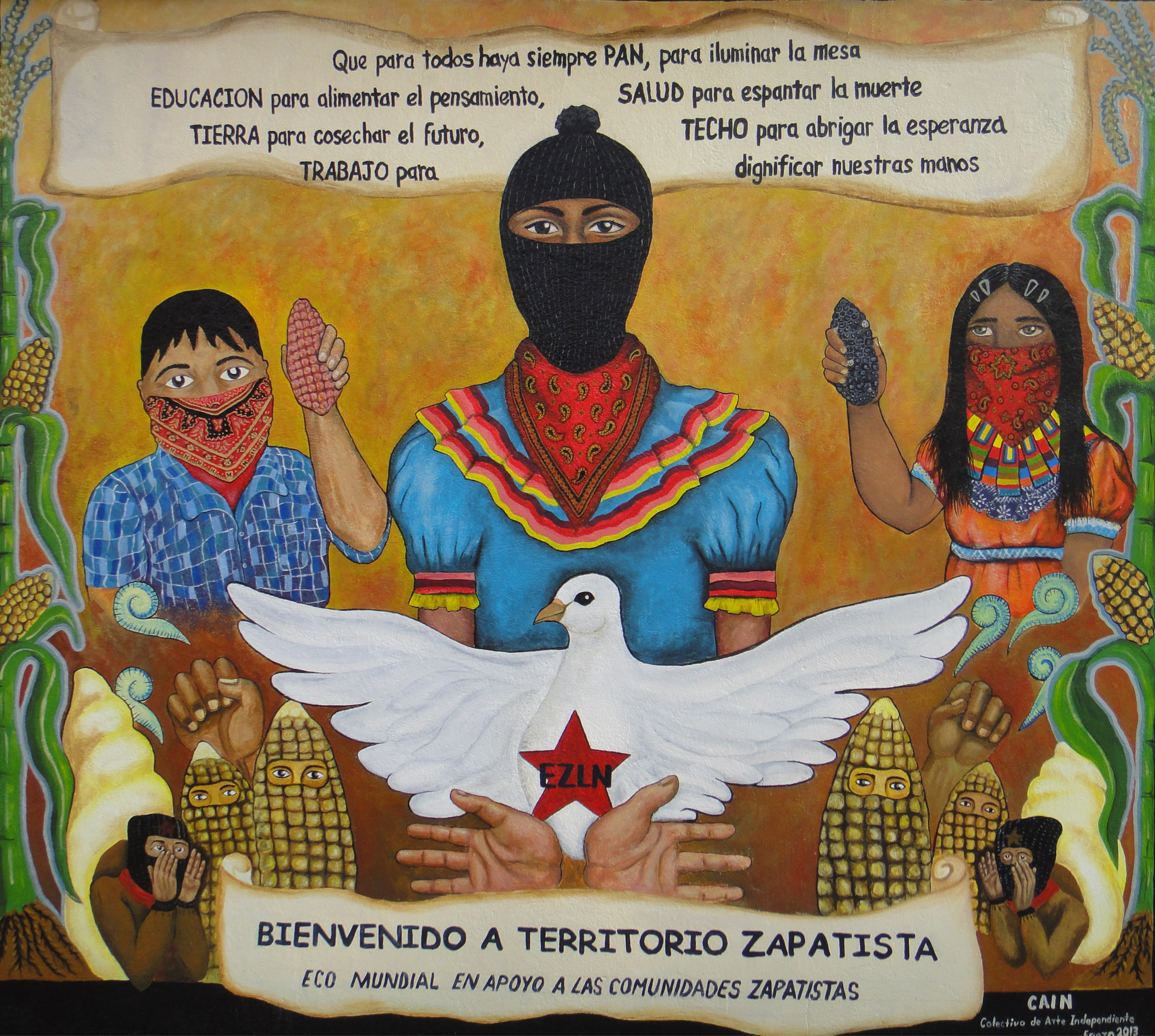 From puebla another worldwide echo dorset chiapas for Mural zapatista