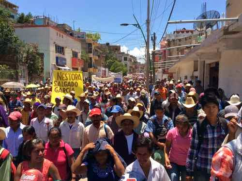 On the 20th Anniversary of the Tlachinollan Center for Human Rights in the Mountain, thousands of indigenous people marched in Tlapa de Comonfort demanding the release of political prisoners  Photo: Sergio Ocampo