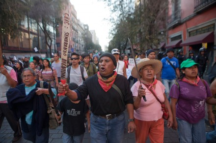 Ejidatarios of Atenco during a protest in Mexico City Photo: Miguel Dimayuga