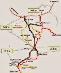 This shows the route of the super-highway from San Cristobal to Palenque.