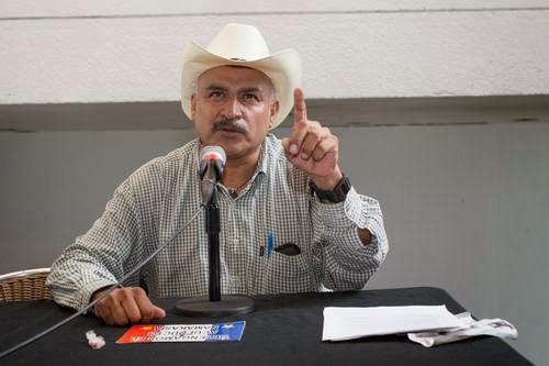Yaqui spokesman, Tomás Rojo Valencia at a forum in Mexico City Photo: Pablo Ramos