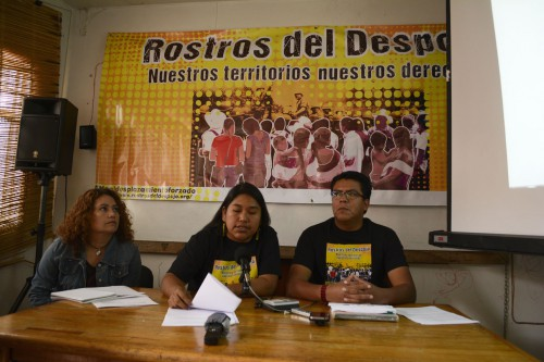 In the picture, Alma Padilla from the Centre for Women's Rights in Chiapas; Azalia Rodriguez, spokeswoman for Frayba and Victor Hugo Lopez, director of Frayba. Photo Elio Henriquez