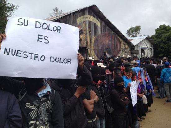 Zapatistas greet Ayotzinapa Caravan in Oventic. Photo: Frayba