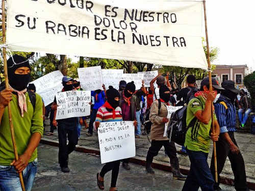 "EZLN march in solidarity with the movement for ""Ayotzinapa"" San Cristobal de Las Casas, October 22, 2014 © SIPAZ"