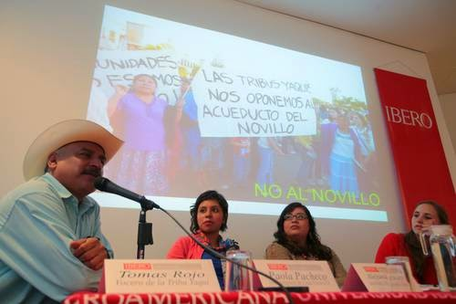 Tomás Rojo, Paola Pacheco, Alejandra Leyva and Monica Oehler, during the presentation of the report, A Failed Sentence: The Failure of the Mexican Government to Fulfil the Supreme Court Resolution Regarding the Yaqui Tribe's Right to Consultation, held at the Iberoamerican University Photo: Roberto García Ortiz