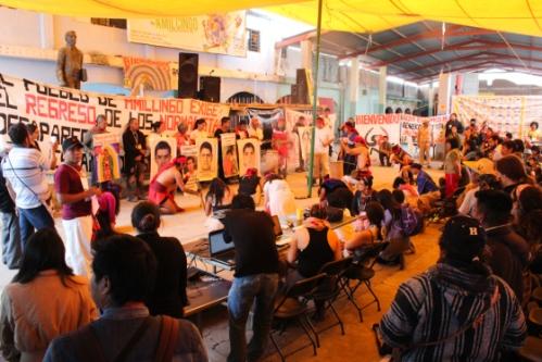 Ayotzinapa presentation at the Festival of Resistances & Rebellions against Capitalism in Amilcingo. Photo: Arturo Vazquez