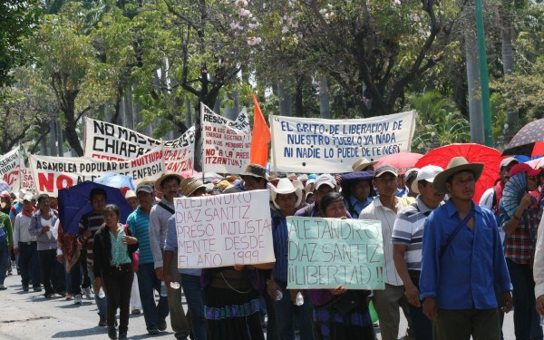 The Cry for Liberation from the People March of the Pueblo Creyente of Simojovel and parishes of the northern region. Photo: Angeles Mariscal