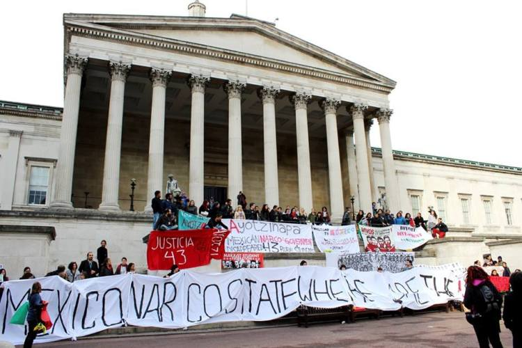 The day culminated in a demonstration in the main square of a central London university.