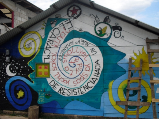 Mural on front of former offices of Good Government Junta in La Garrucha carries the name of the Caracol in both Spanish and Tseltal.