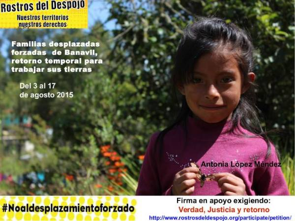 The photo shows Antonia Lopez Mendez who died of cerebral oedema, earlier this year as a direct result of her family's displacement