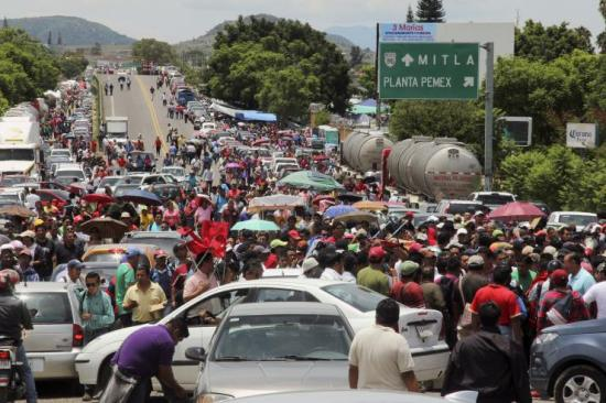 Oaxaca teachers block access to Pemex (the state-owned oil company) facility.