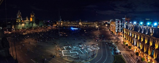 Rexiste is best known for daubing Mexico City's main square, the Zócalo, with the words 'It was the state' – an accusation that the government was complicit in the disappearance of 43 students. Photograph: Eduardo Velasco Vasquez/Rexiste